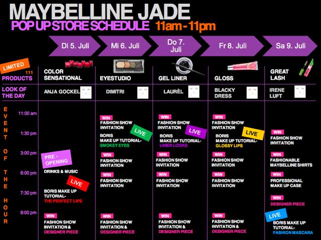 Maybelline Jade PopUpStore Schedule