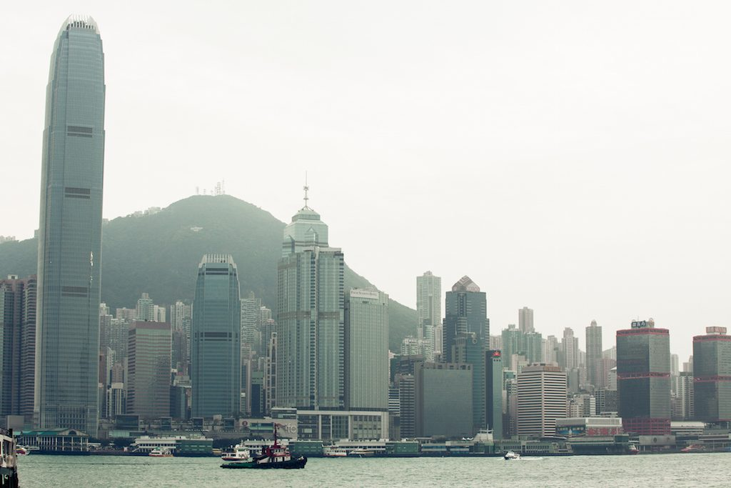 View From Harbour On Hongkong Skyline