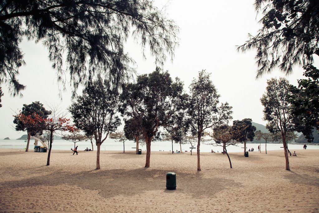 Hongkong beach with trees