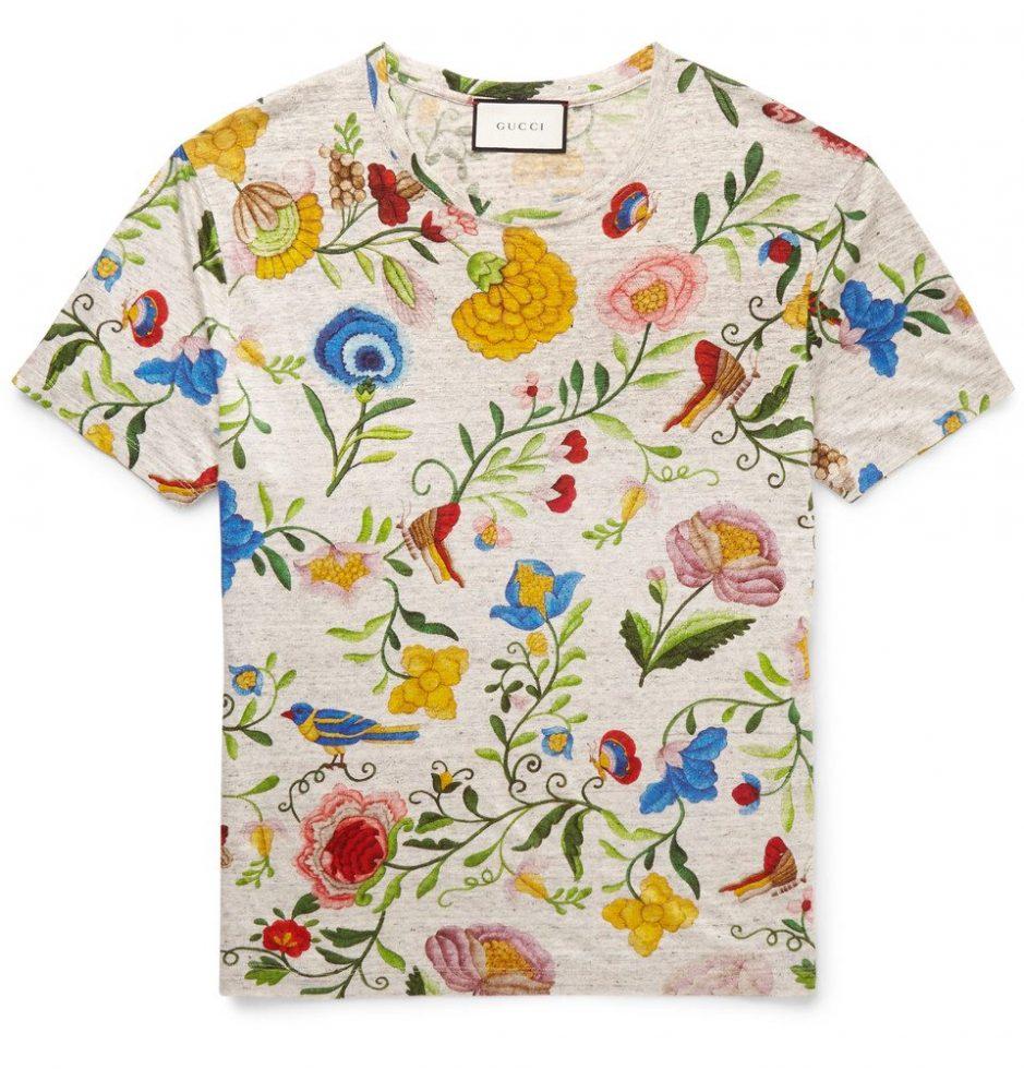 Gucci Design T-Shirt Toile de Jouy Leinen
