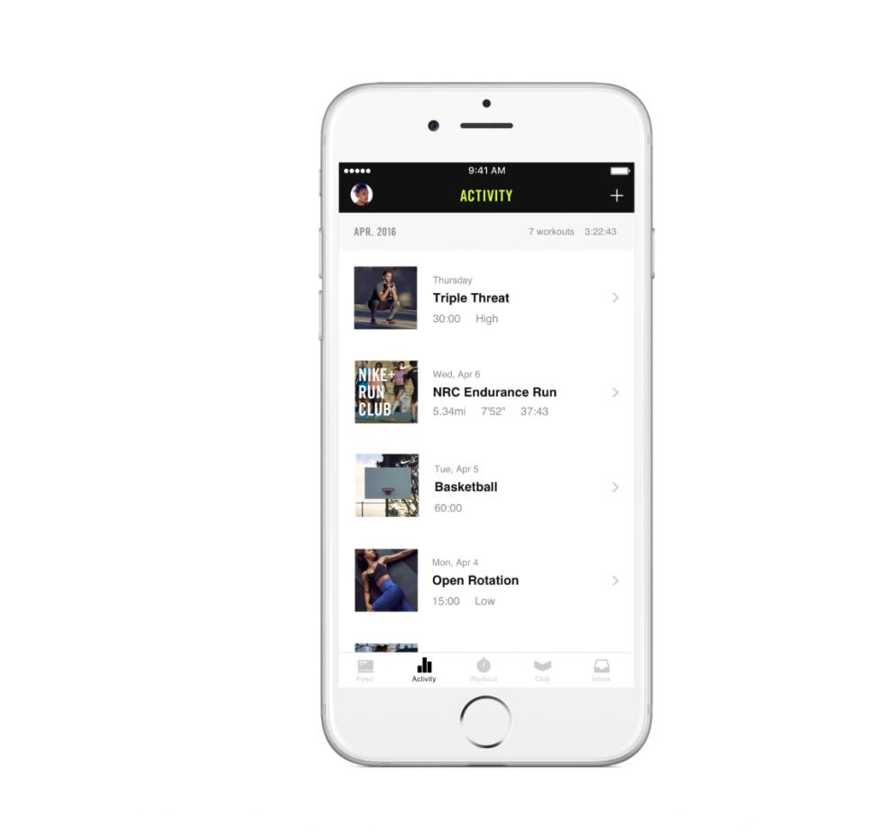 Iphone displays Nike Club App